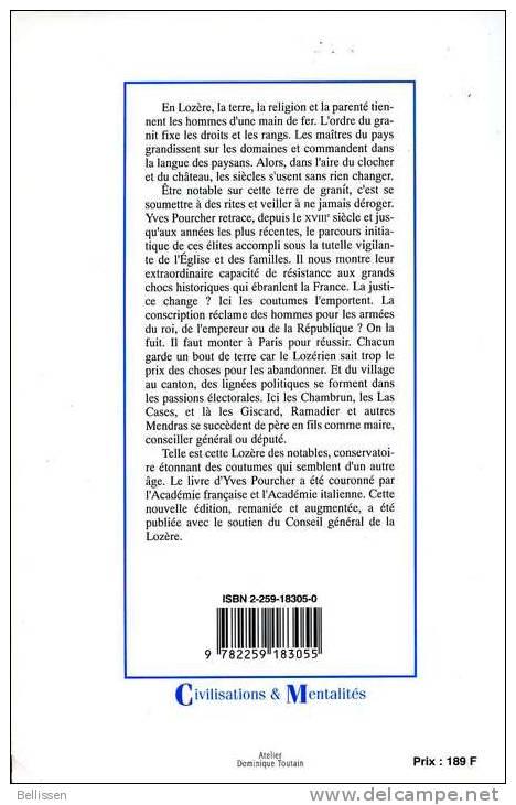 Les Maîtres Du Granit, Par Yves POURCHER, Ed. Plon, 1987, LES NOTABLES DE LOZERE DU XVIIIe SIECLE A NOS JOURS - Languedoc-Roussillon