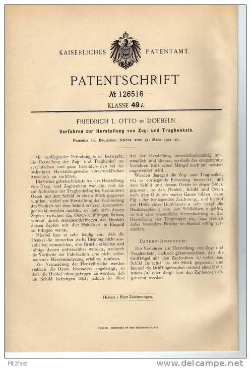 Original Patentschrift -  Friedrich Otto In Doebeln , Zug- Und Traghenkel 1901 !!! - Material Und Zubehör