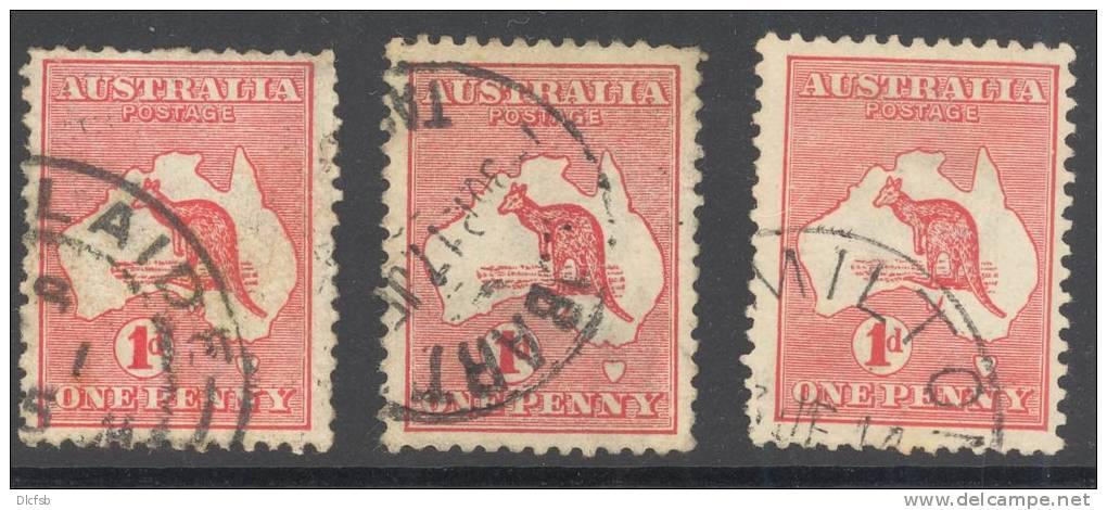 AUSTRALIA, 1913 1d VFU (three Types: Die I, Die II, Die IIa) - Used Stamps