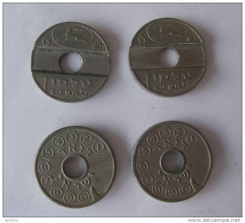 Telefoon Coin  2 X Israel Coin  (  101 ) - Francia