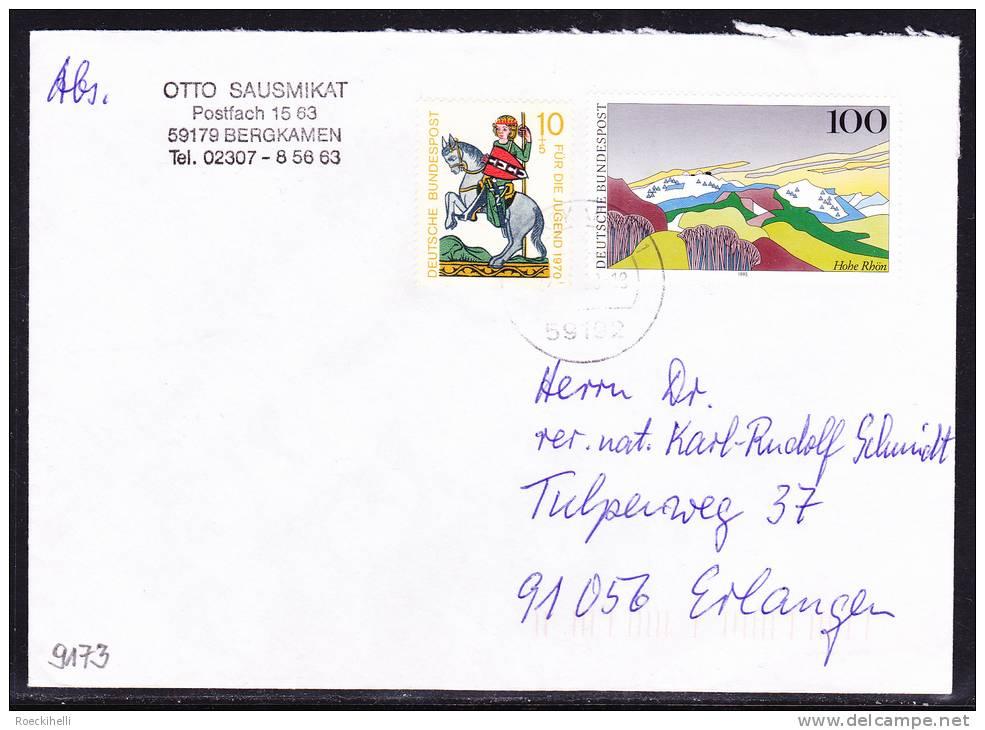 17.1.1999 -  Bedarfsbeleg, Gelaufen Von Bergkamen Nach Erlangen -  Siehe Scan  (de 9173) - Storia Postale