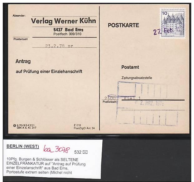 Berlin  Seltene EF 532 A.Karte  Anschriftenprüfung    (ba3078 ) Siehe Scan - [5] Berlino