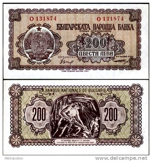 BULGARIA 200 LEVA 1948 P 75 UNC - Bulgarie