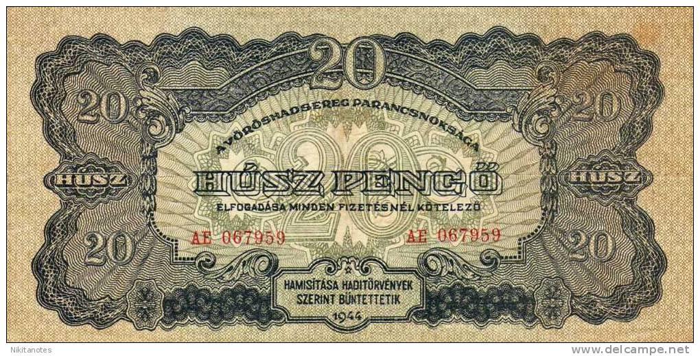 Hungary 20 Pengo 1944 Banknote F Vf - Hongrie
