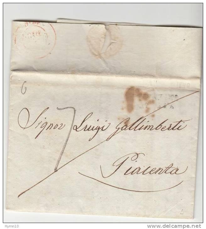 DA182-1840 FATTURA COMMERCIALE DESENZANO-PIACENZA-DOPPIA TASSAZIONE+lineare Datario Partenza/bollo ROSSO Arrivo - 1. ...-1850 Vorphilatelie