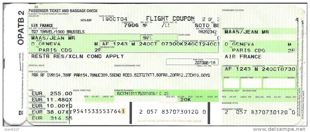 ticket d avion air france vol gen ve paris af 1243 24 10 04 non utilis. Black Bedroom Furniture Sets. Home Design Ideas