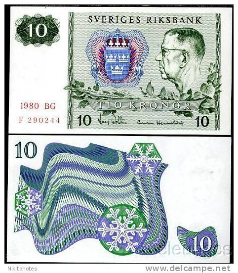 Sweden 10 Kronor 1980 P 52 Vf - Suisse
