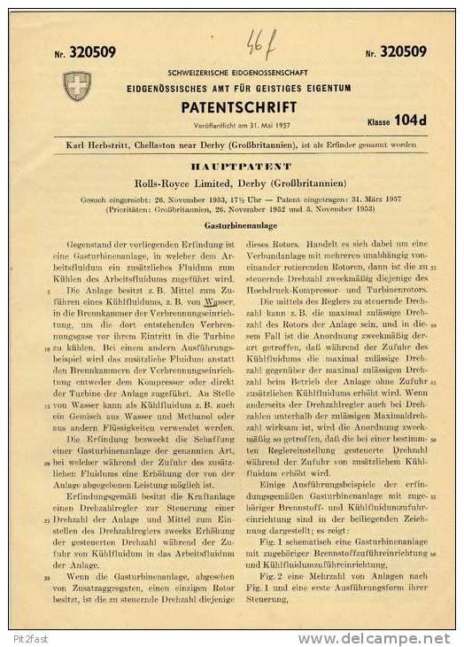 Original Patentschrift -  Rolls Royce Limited In Derby ,1953 , Gasturbine , Automobile !!! - Cars