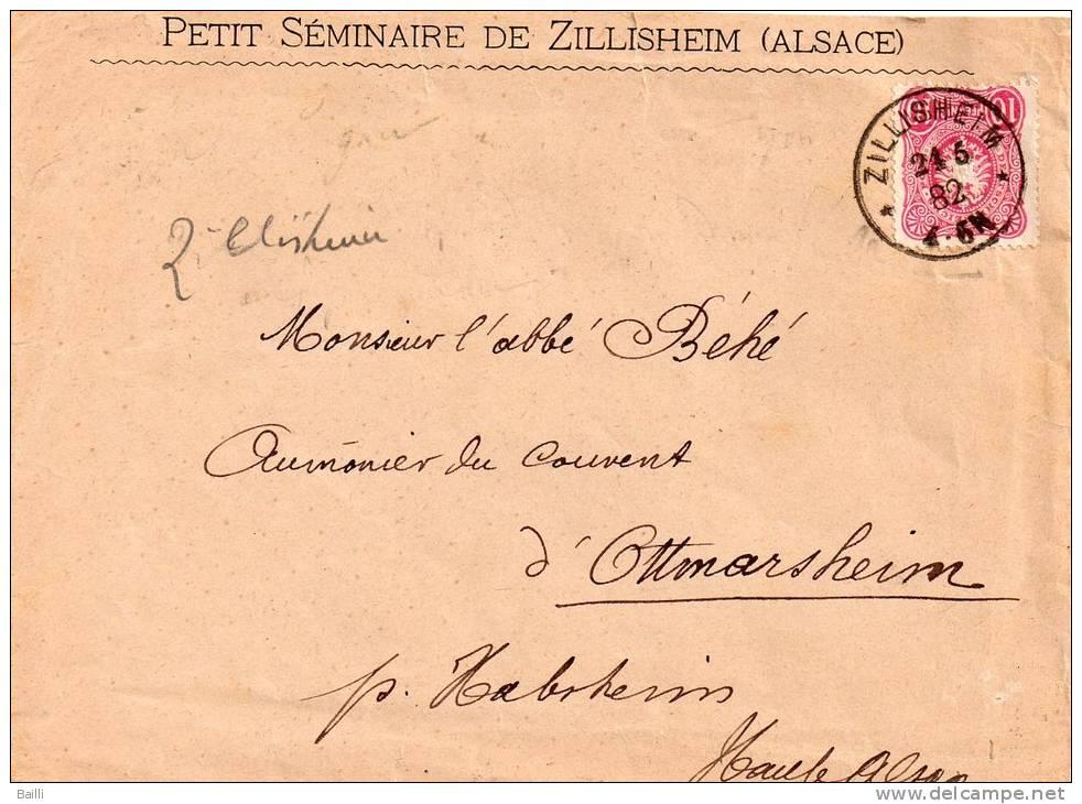 FRANCE ALSACE LETTRE DE ZILLISHEIM 1882 - Alsace-Lorraine
