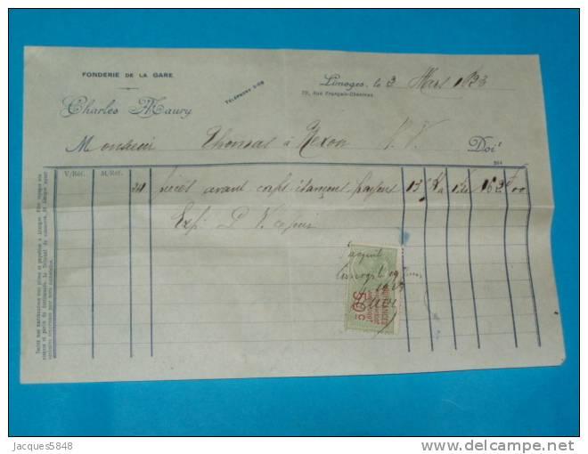 Factures) Limoges - H.viennes ( étab : Charles Maury ) Fonderie De La Gare - France