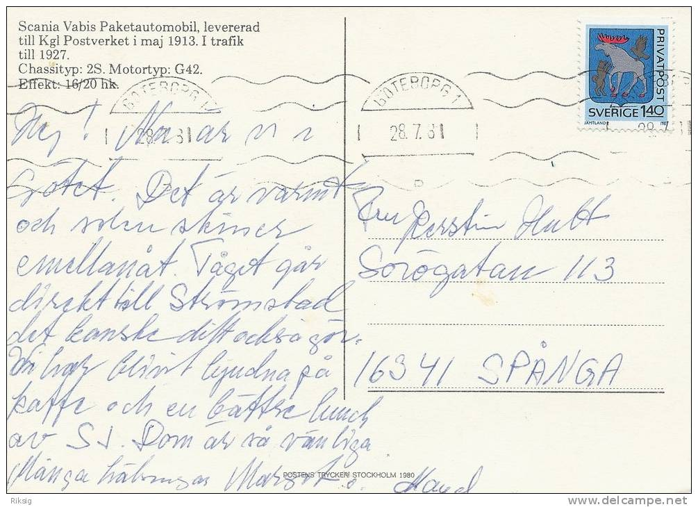 Swedish Postal Automobile.  B-580 - Postal Services