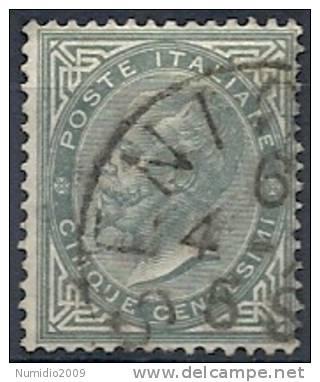 1863-65 REGNO USATO EFFIGIE 5 CENT -  RR10041 - Usati