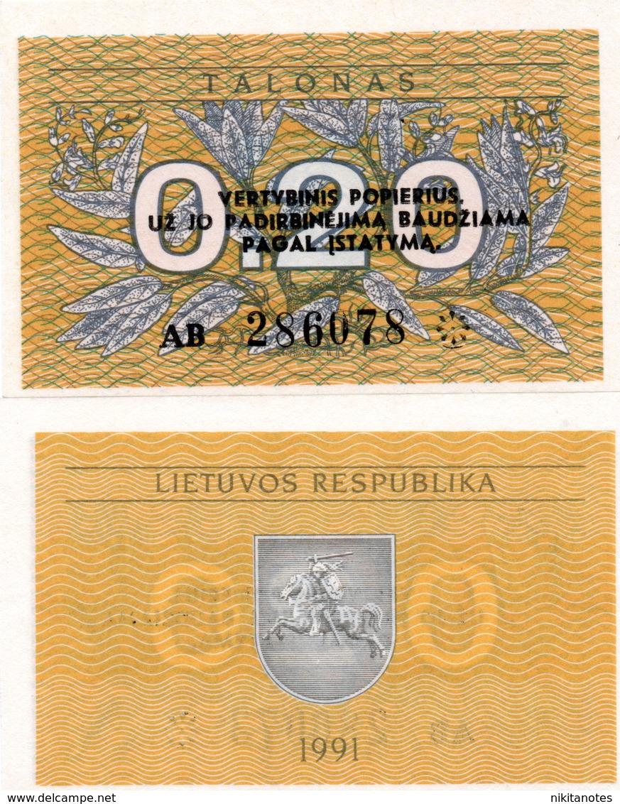 Lithuania  LITHUANIA   0,20 Talonu 1991 UNC - Lituanie
