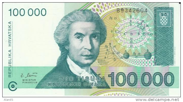 Croatia #27 100,000 Dinara 1993 Banknote Paper Money, R. Boskovic - Croatia
