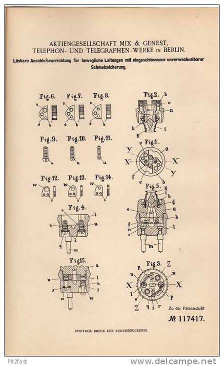 Original Patentschrift - Telephon Und Telegraphenwerke In Berlin , Schmelzsicherung , 1900 , Telegraphy !!! - Telephony