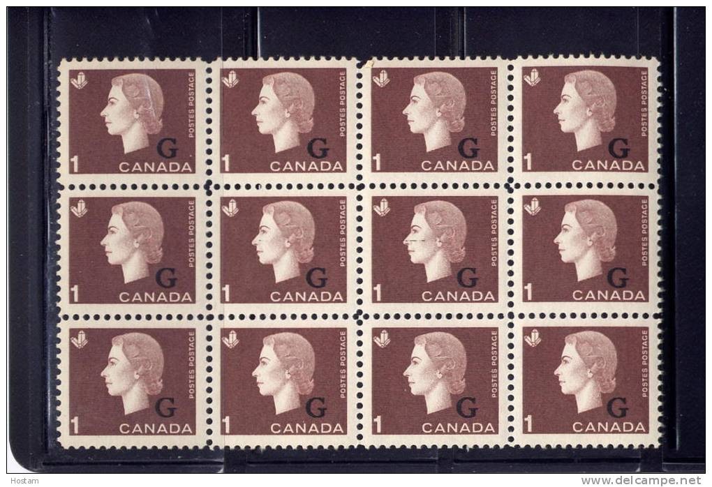 CANADA, 1963, #O46, QUEEN ELIZABETH 11, CAMEO PORTRAIT, M NH,  BLOCK OF 12, With 2 Middle Ones With A Black Line On Face - Officials