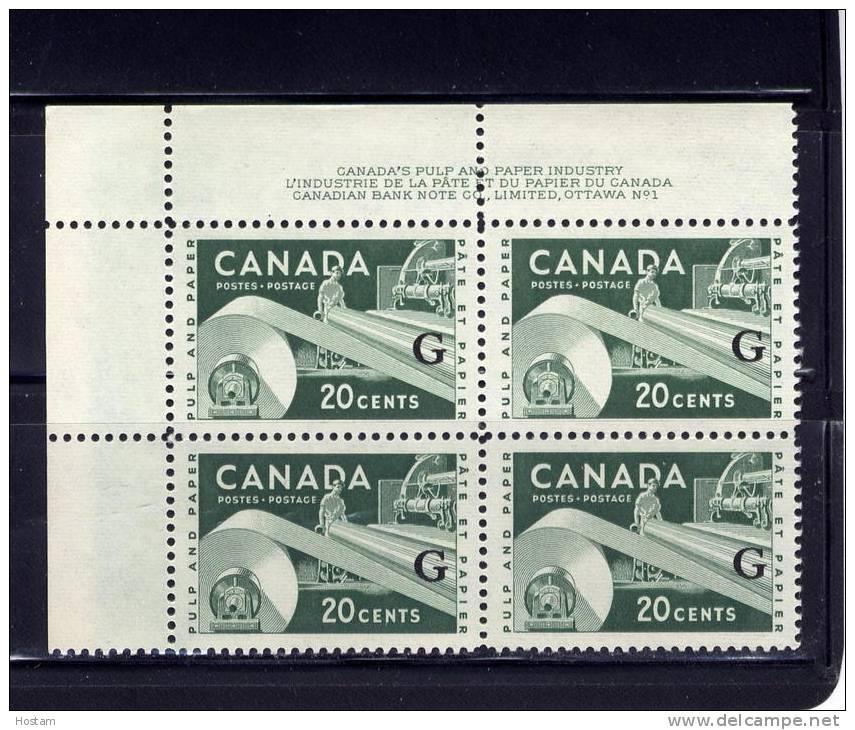 CANADA, 1955-56, #O45, QUEEN ELIZABETH 11, INDUSTRY DEFINITIVE, PL 1 UL BLOCK - Officials