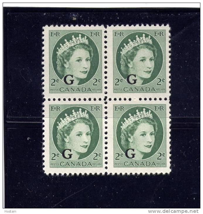 CANADA, 1955-56, #O41, QUEEN ELIZABETH 11,WILDING PORTRAIT  BLOCK OF 4 FINE MNH - Officials