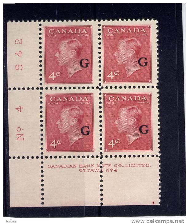 "CANADA 1950. #O19, K G V1, ""POSTES-POSTAGE"",  BLOCK PLATE 4  F  MNH LL - Overprinted"
