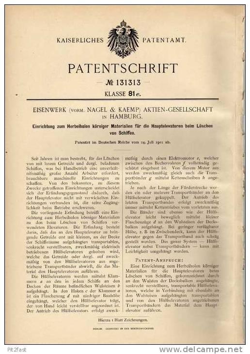 Original Patentschrift - Eisenwerk AG In Hamburg ,1901, Löscheinrichtung Für Schiffe , Feuerwehr !!! - Boats