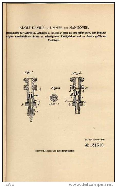 Original Patentschrift - A. Davids In Limmer B. Hannover ,1899 ,  Luftreifen , Ventil , Pneu !!! - Cars