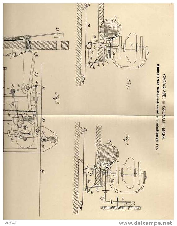 Original Patentschrift - G. Apel In Grünau I. Mark , 1901, Saiteninstrument , Musikinstrument , !!! - Musikinstrumente