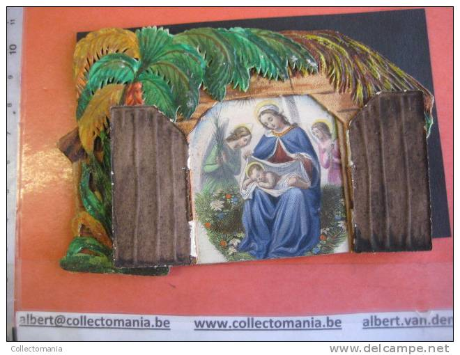 1840 Approx - Bouasse LEBEL - Kerststal Kribbe Stable Christ - Mechanical Opening + Hand Work And Coloring - Images Religieuses