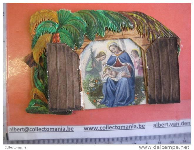 1840 Approx - Bouasse LEBEL - Kerststal Kribbe Stable Christ - Mechanical Opening + Hand Work And Coloring - Devotieprenten