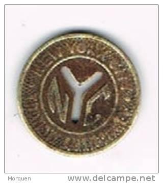 Moneda NEW YORK, One Fare. Transit Authority. Token. Jeton - Profesionales/De Sociedad