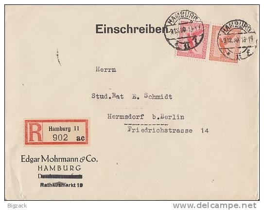 DR R-Brief Mif Minr.379,381 Hamburg 9.12.30 - Deutschland