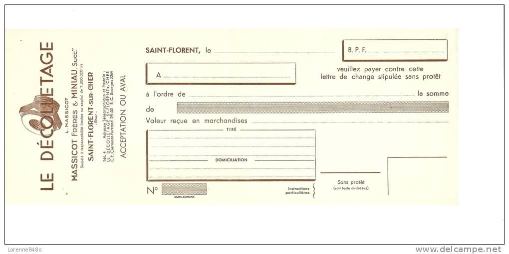 -18- LETTRE DE CHANGE .....LE DéCOLLETAGE....MASSICOT Frères  &  MINIAU ....SAINT-FLORENT-SUR-CHE R.... - Bills Of Exchange