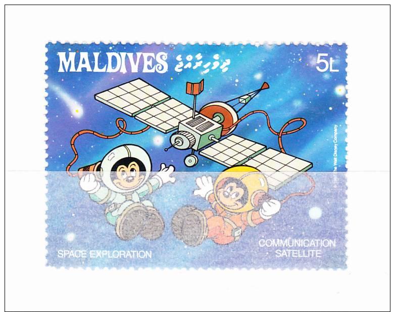 MALDIVES 1988 Espace  - Disney  5 L Y&T # 1148 Cv 0.20 E   ** M N H  , V V F - Maldive (1965-...)