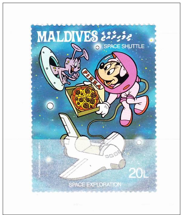 MALDIVES 1988 Espace  - Disney  20 L Y&T # 1151 Cv 0.30 E   ** M N H  , V V F - Maldive (1965-...)
