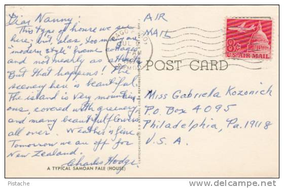 Samoa - Samoan Fale House - Architecture - Circulée - Travelled In 1969 - VG Condition - 2 Scans - American Samoa
