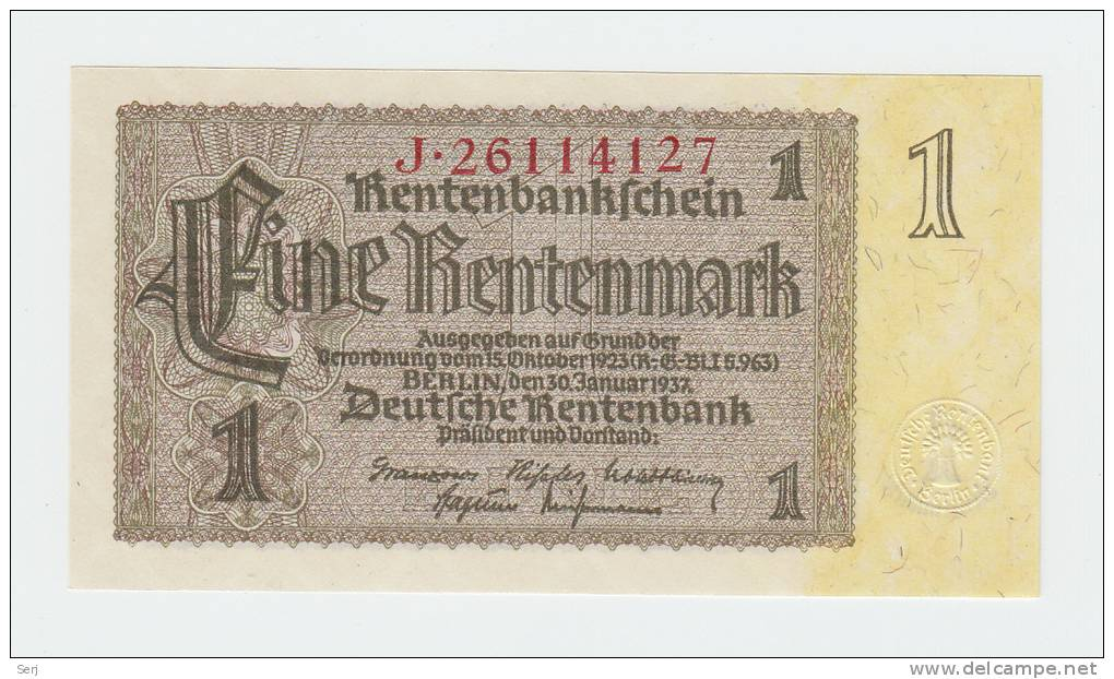 Germany 1 Rentenmark 1937 UNC NEUF P 173b  173 B - [ 4] 1933-1945: Derde Rijk