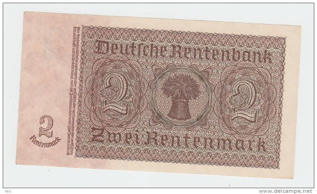Germany 2 Rentenmark 1937 AUNC P 174b  174 B - Unclassified