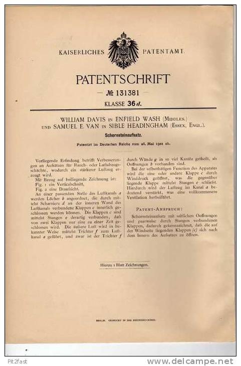 Original Patentschrift - W. Davis In Enfield Und Sible Headingham , 1901 , Schornstein , Schornsteinfeger !!! - Architecture