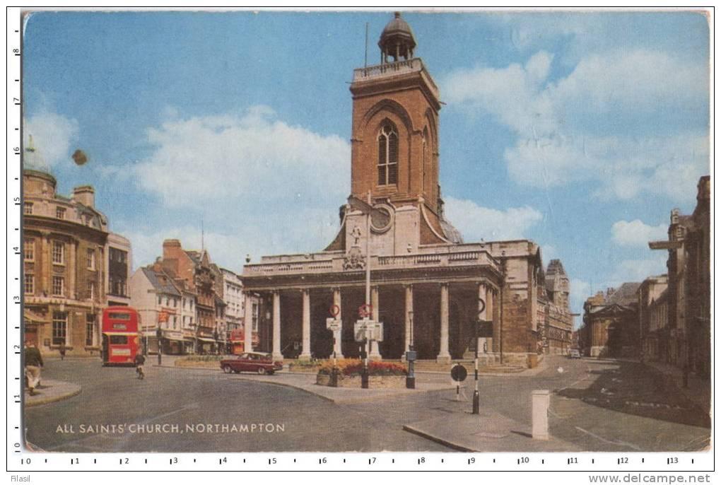 SI53D All Saints´ Church, Nnorthampton Inghiltera Post Card Animata Viaggiata 1982 - Gibilterra