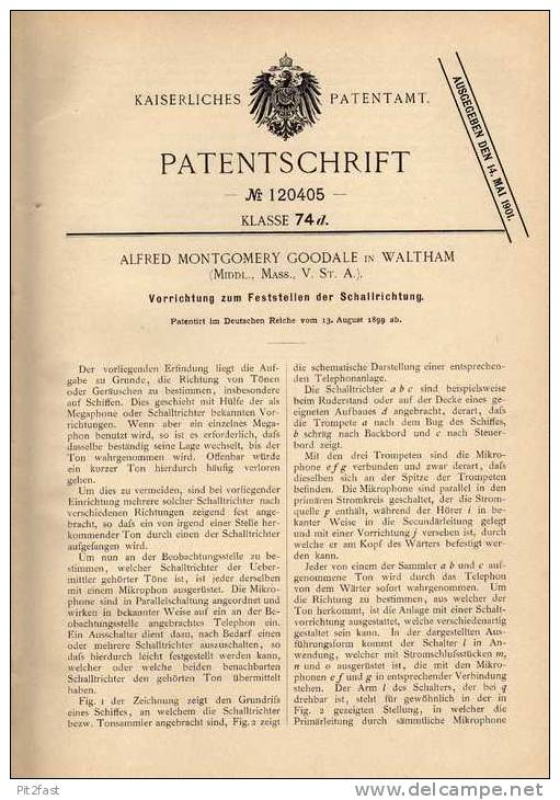 Original Patentschrift - A. Goodale In Waltham , Echolot , Schallempfänger Für Schiffe , 1899 !!! - Boats
