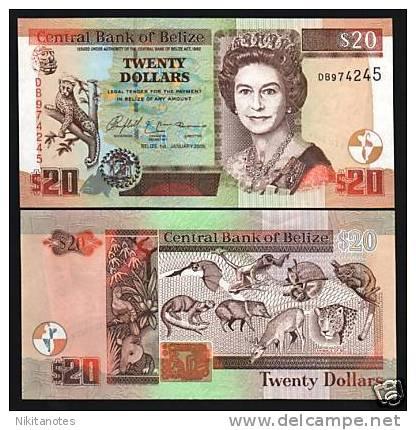 BELIZE $20 69B 2005 JAGUAR  QUEEN UNC NOTE - Belize