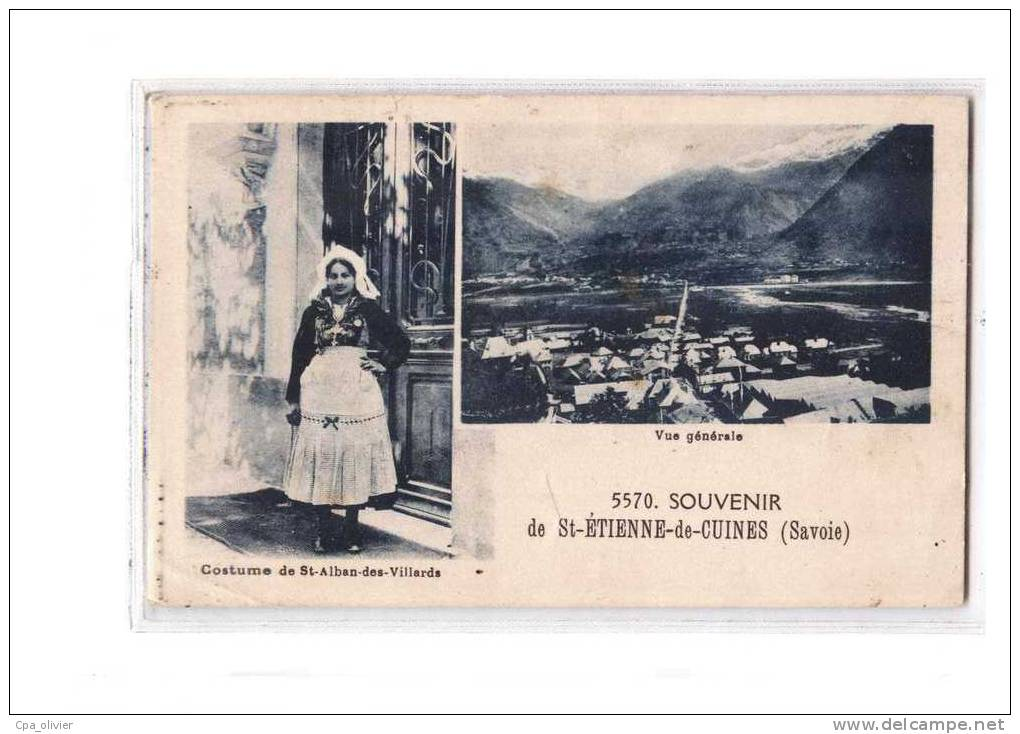 73 ST ETIENNE CUINES (envs La Chambre) Souvenir, Multivue, Vue Générale, Costume St Alban Villards, Ed Grimal 5570, 193? - France