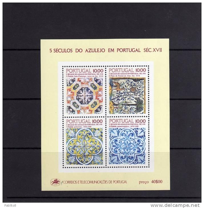 PORTOGALLO - PORTUGAL 1982 MAJOLICA MAIOLICA MAJOLIQUE AZULEJO BLOCK SHEET BLOCCO FOGLIETTO BLOC FEUILLET MNH - Blocks & Kleinbögen