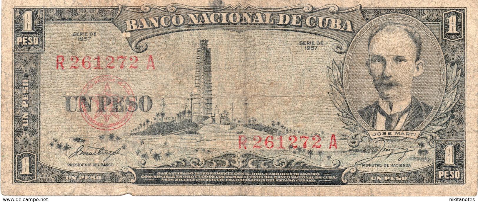 * CUBA - 1 PESOS  1957 F Cond - Cuba