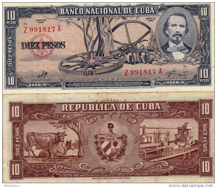 Cuba 10 Pesos 1960 VF  Signature Che Guevara Pesos - Cuba