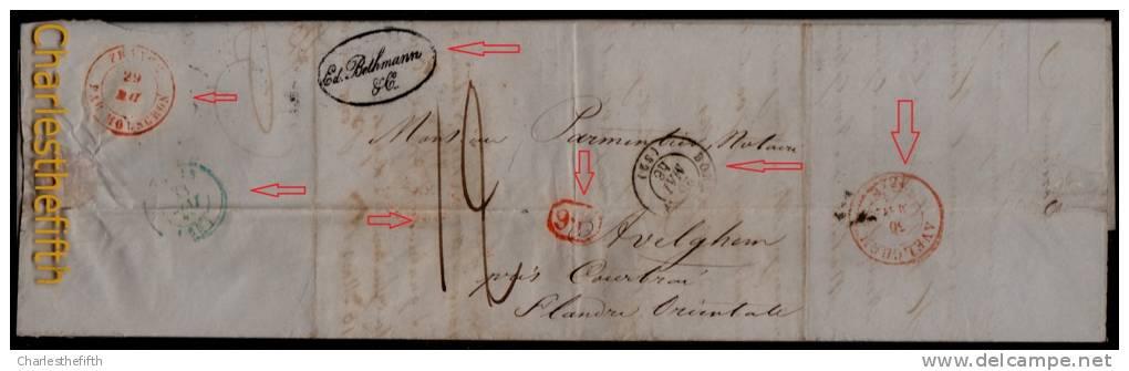 """PIECE UNIQUE !FACTURE VIN MEDOC BORDEAUX BETHMANN LAC 1846 BORDEAUX - GRIFFE ROUGE """" 9R """" PARIS MOUSCRON AVELGHEM - WINE - Documents Historiques"""
