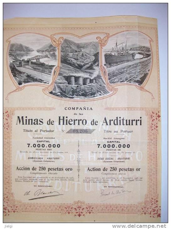 1631  Etr. ESPAGNE Minas De Hierro De ARDITURI  Action De 250 Pesetas Or Siège à St SEBASTIAN - Shareholdings