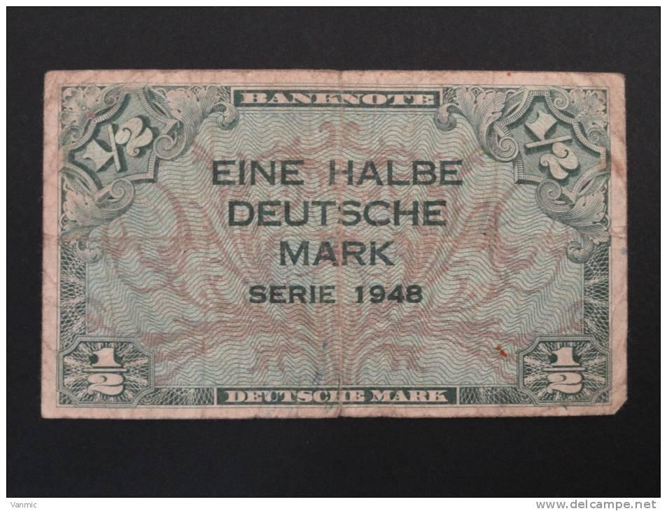 1948 - Billet 1/2 Mark - EINE HALBE DEUTSCHE MARK - Série 1948 - Allemagne - Germany - Deutschland - [ 5] 1945-1949 : Occupation Des Alliés