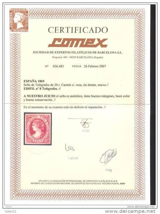 ESTGF8-3120.España Spain Espagne ISABEL II TELEGRAFOS 1865 (Ed T8*) LUJO CERTIFICADO COMEX . - Telegraph