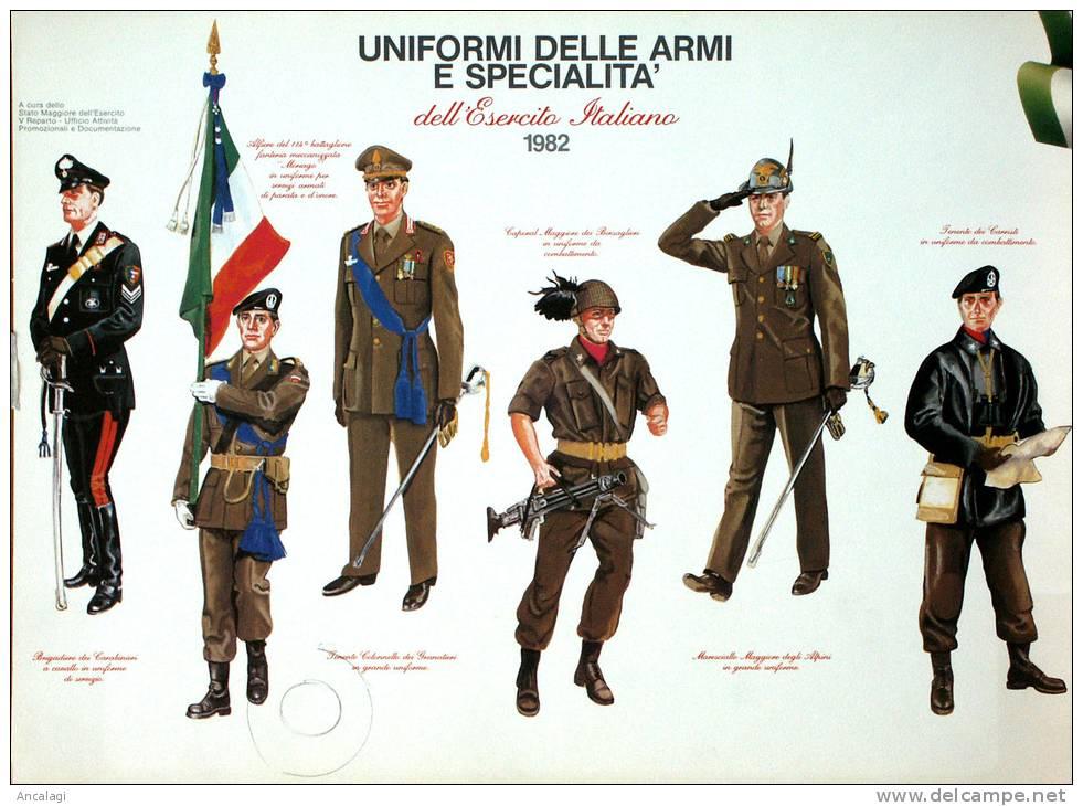 P0185 - UNIFORMI DELLE ARMI E SPECIALITA' DELL'ESERCITO ITALIANO, 1982 - - Manifesti
