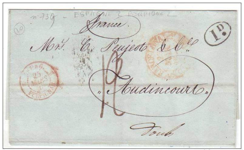 Cachet  D'entrée - Espag. Perpignan 25 Mars 1845 Pour Audincourt - 1801-1848: Precursores XIX